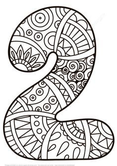 Number 2 Zentangle Coloring Page From Zentangle Numbers Category