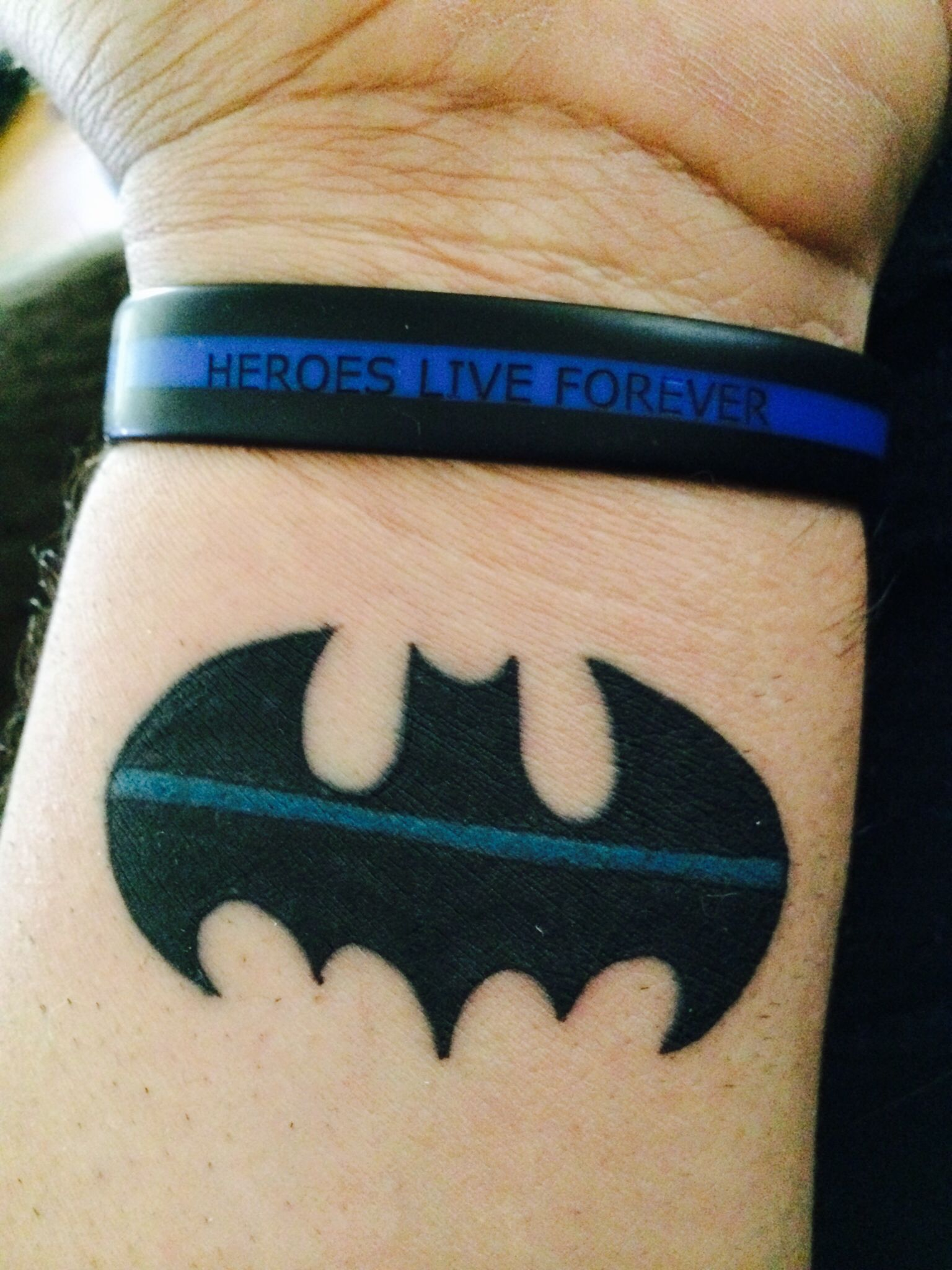 bcdc91acf My first tattoo #batman #wristtattoo #thinblueline #20yeartour | Me ...