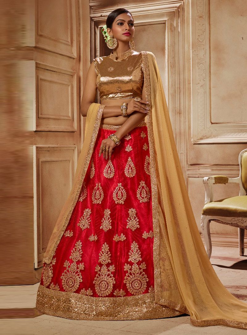 dc64f92cd9 Red Net A Line Lehenga Choli 131319 | A Line Lehenga Choli in 2019 ...
