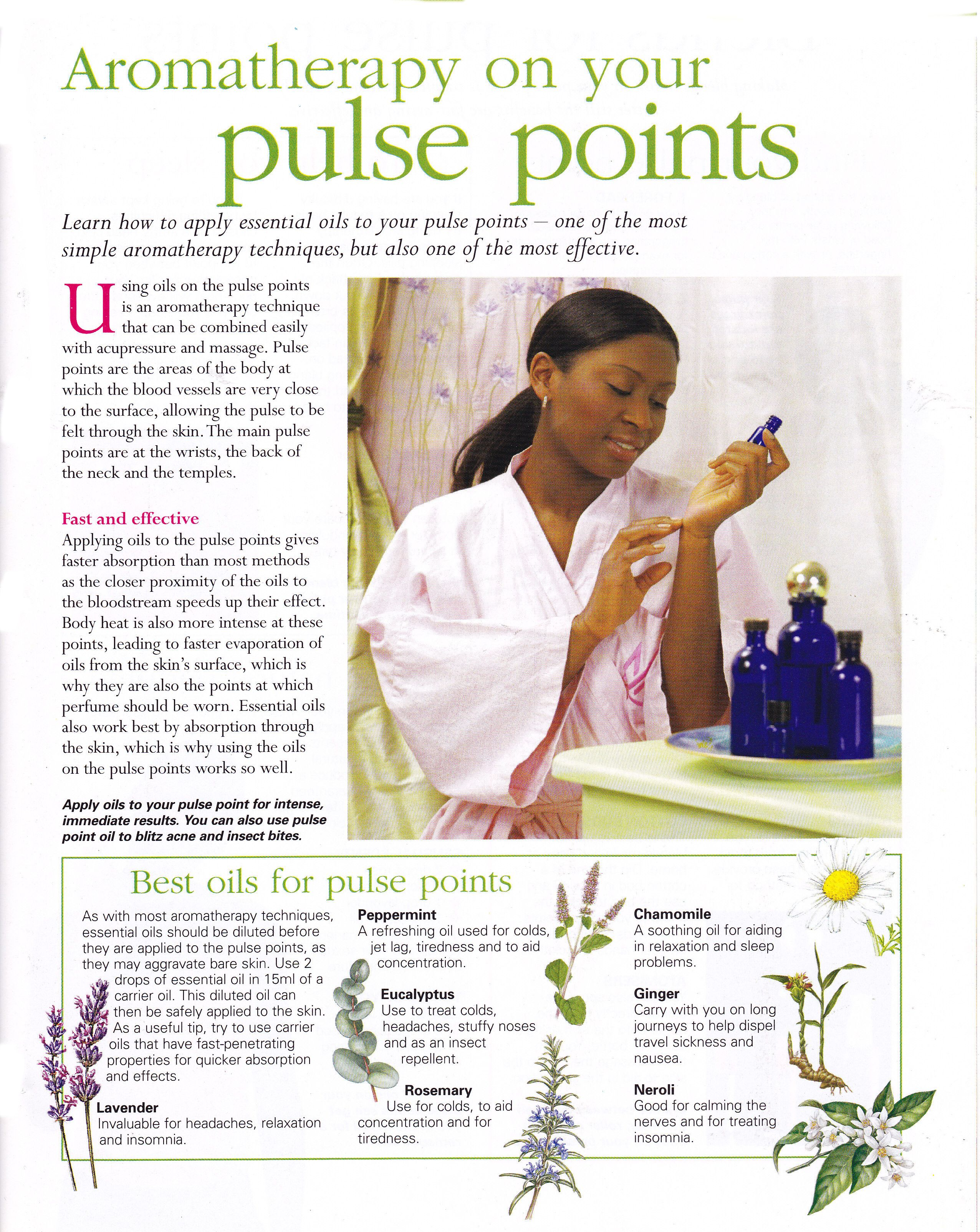 Aromatherapy on your pulse points Curiosities