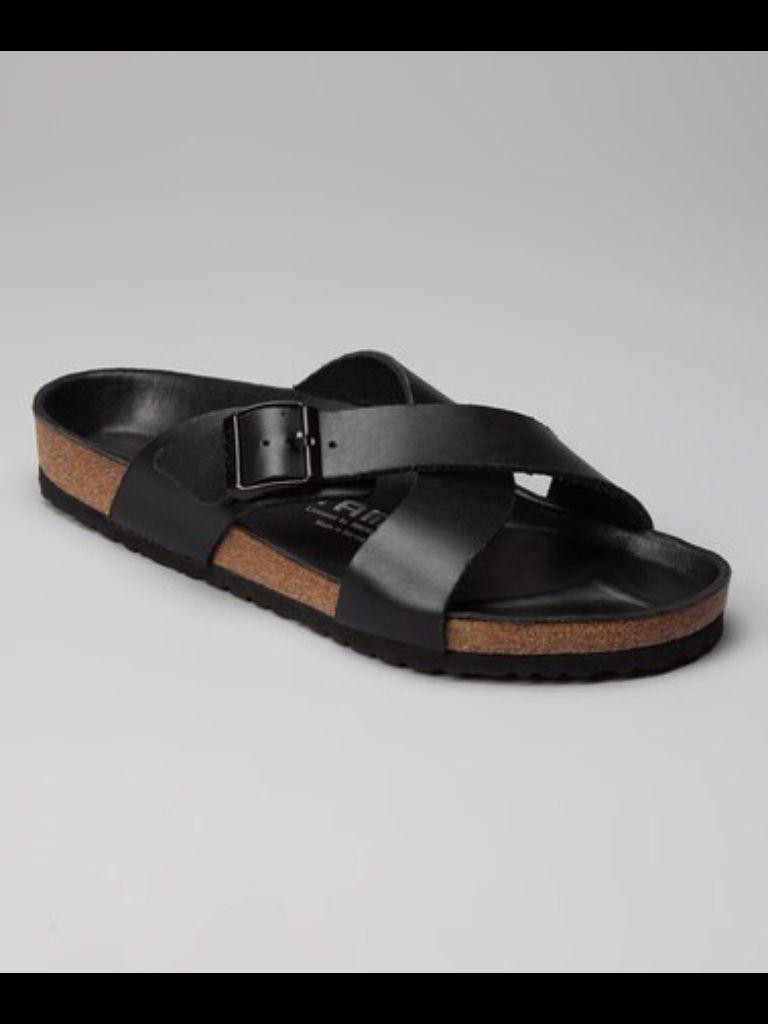 Tatami Tunis Black Leather Sandal, by Birkenstock. Men's
