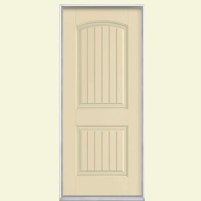 Masonite In Cheyenne Panel Left Hand Inswing Painted Smooth Fiberglass  Prehung Front Door No Brickmold Golden