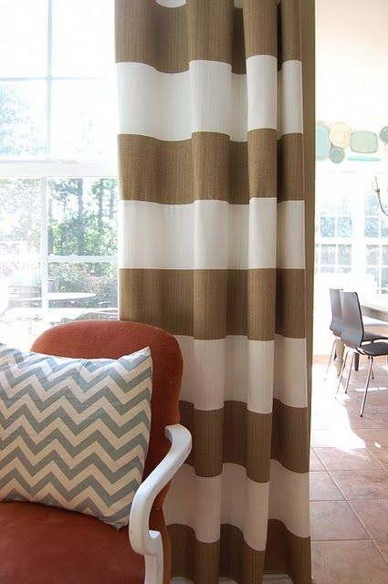 Love the large stripe curtains!