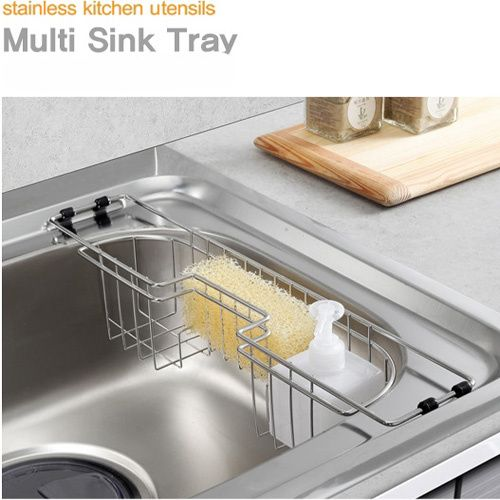 S 11 99 54 Korea Premium Stainless Steel Multi Sink Rack Sponge Holder Drainer Shelving Versatile Dish Bathroom Shelves Kitchen