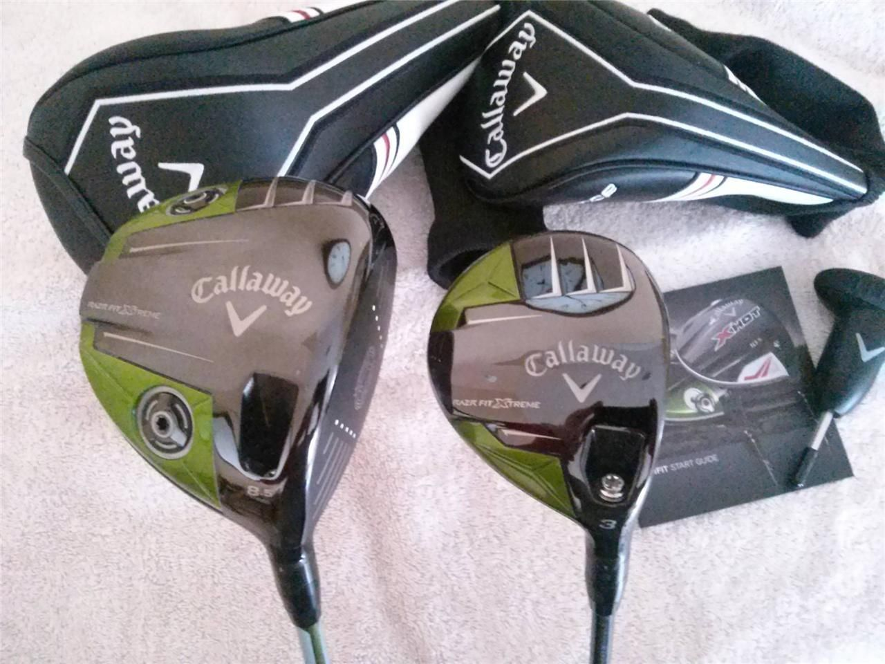 Brand New Callaway Razr Fit Xtreme Driver And 3 Wood Golf Clubs