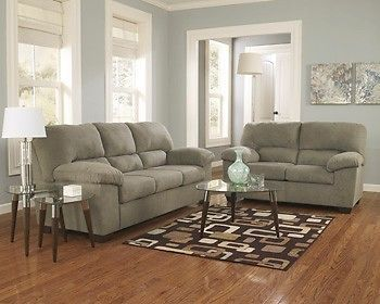 sage leather sofa reclinable ashley zadee green couch loveseat recliner living room 1760138 35 ebay