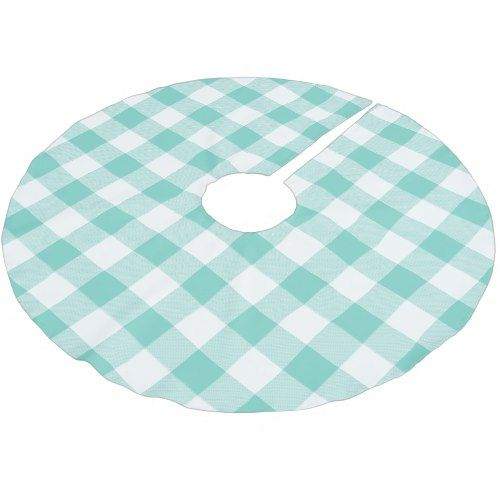 Aqua Christmas Tree Skirt: Rustic Aqua And White Buffalo Check Plaid Brushed