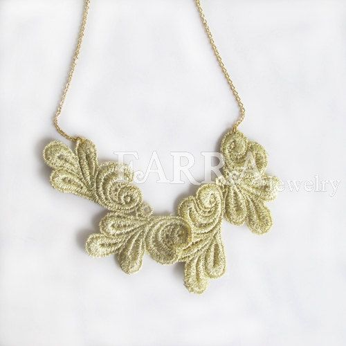 Light green  lace jewelry  lace necklace  bridal by FARRAwedding, www.farrawedding.etsy.com