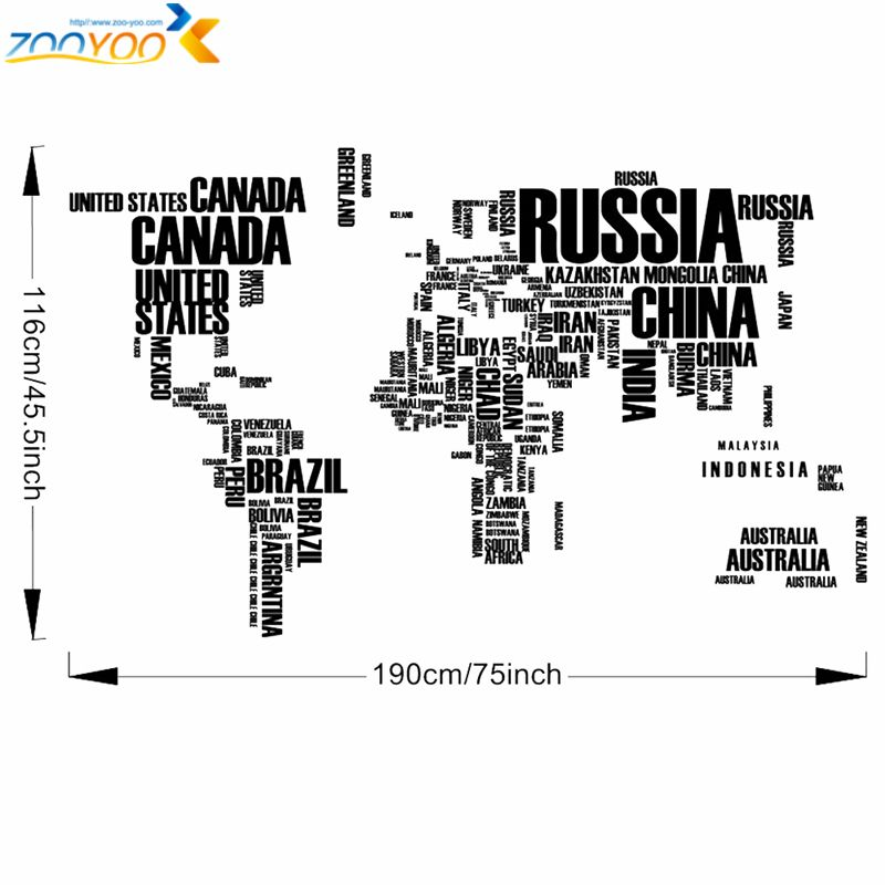 Creative letters world map wall stikers map city landscape creative letters world map wall stikers gumiabroncs Gallery