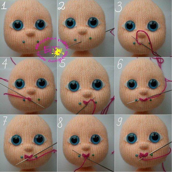 как вышить губки вязаной кукле обсуждение на Liveinternet