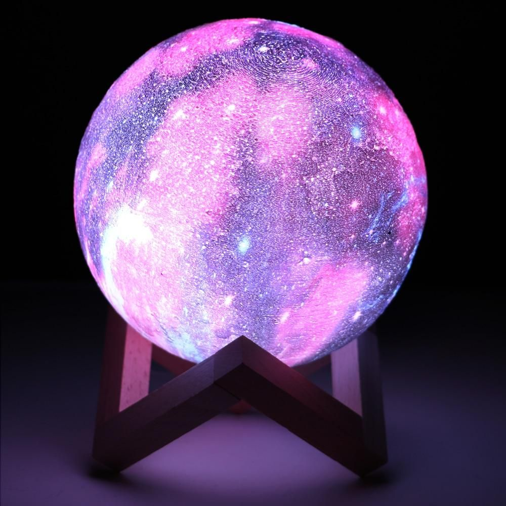 Coquimbo 16 Colors 3d Printing Moon Lamp With Remote Control Starry Sky Galaxy Light Built In Rechargeable Battery Night Lamp In 2020 Galaxy Lights Star Lamp Galaxy