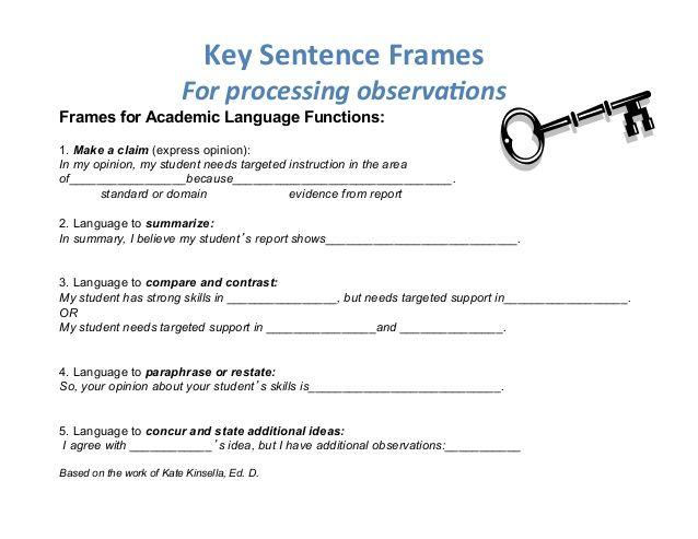 kate kinsella sentence frames - Google Search | Kate KInsella ...