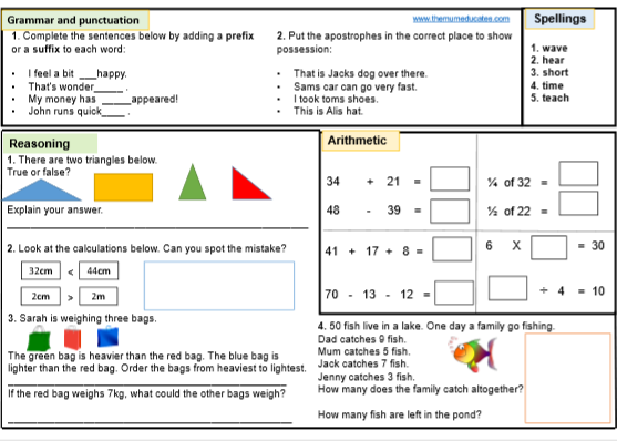 FREE KS1 SATS Worksheets and Practice Papers - The Mum ...