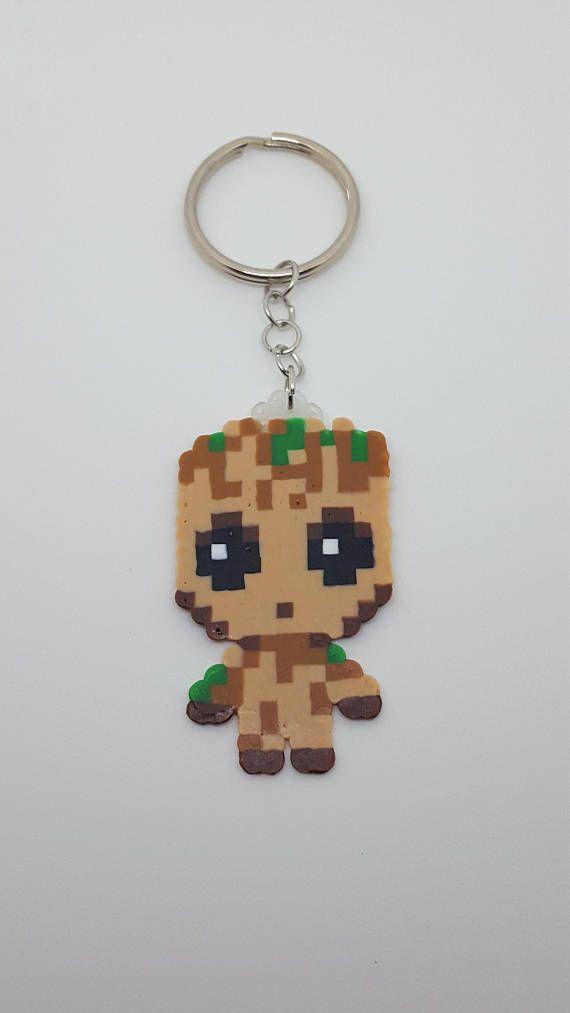 Baby Groot Keychain Pixel Art Hama Beads Patterns Diy