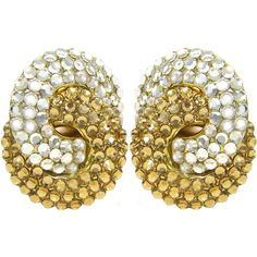 """1 1/8 x 1 1/2"""" Interlocking Circles Pave' Earrings, clip on in Crystal with Gold Tone finish"""