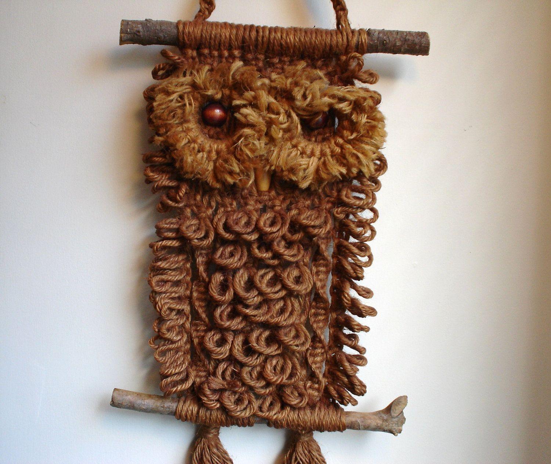 Vintage Owl Macrame Wall Hanging | retro owling ...