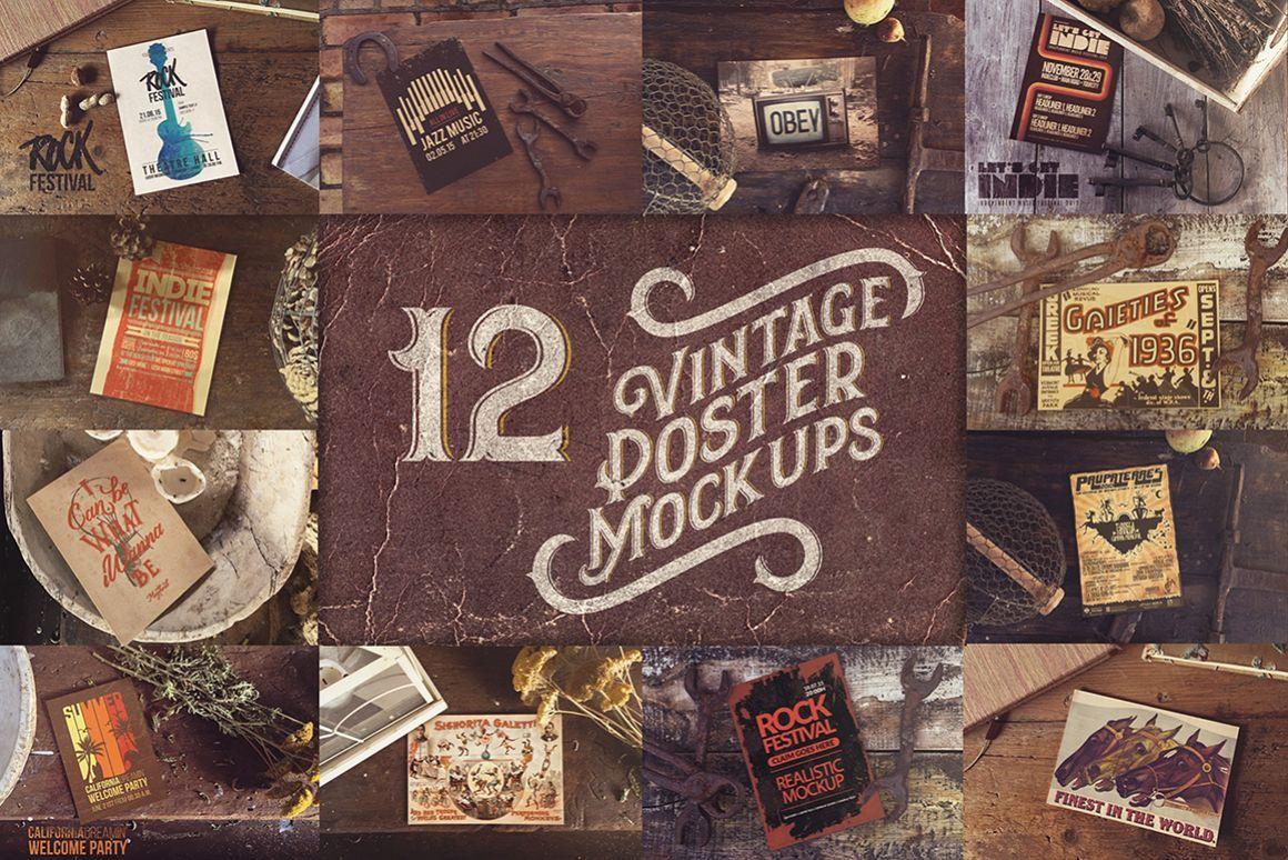 Bundle Vintage Poster Mockups X12 7455 Mockups Design Bundles Free Packaging Mockup Design Mockup Free Poster Mockup
