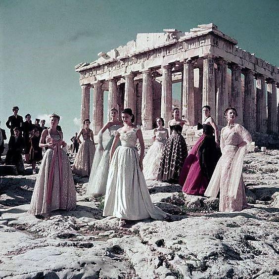 Christian Dior photoshoot at the acropolis (1951)