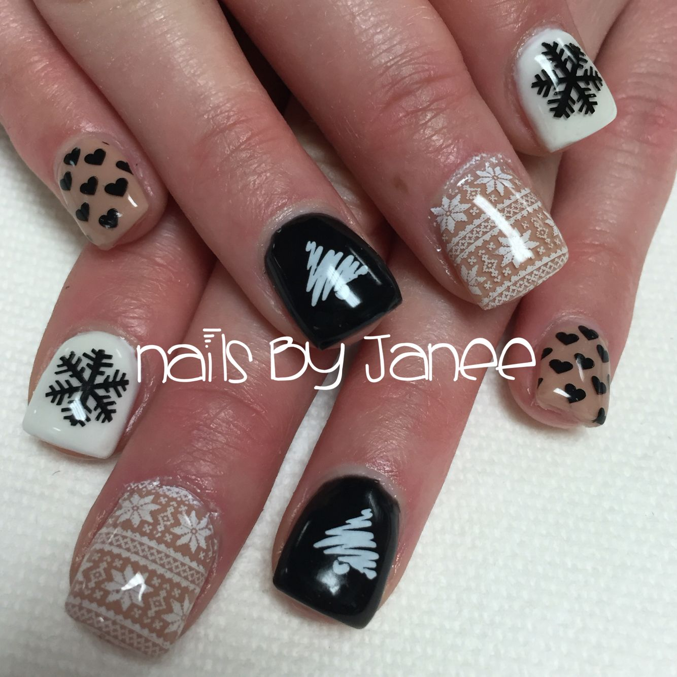 Nude, black and white Christmas nails by Janee. A Wild Hair Salon ...