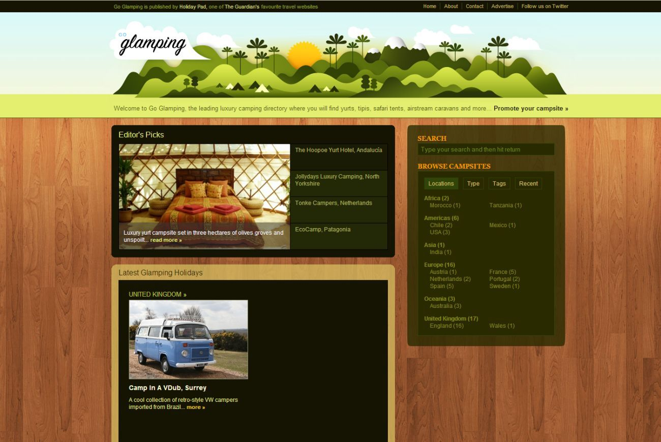 Glamping....illustration in header is exactly what I'm