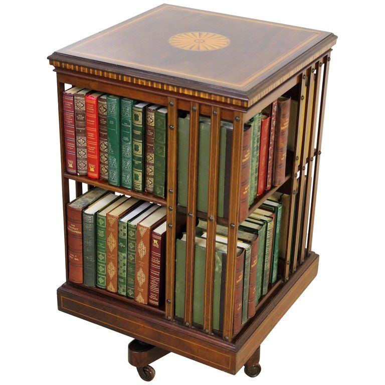 English Edwardian Period Inlaid Mahogany Revolving Bookcase #edwardianperiod