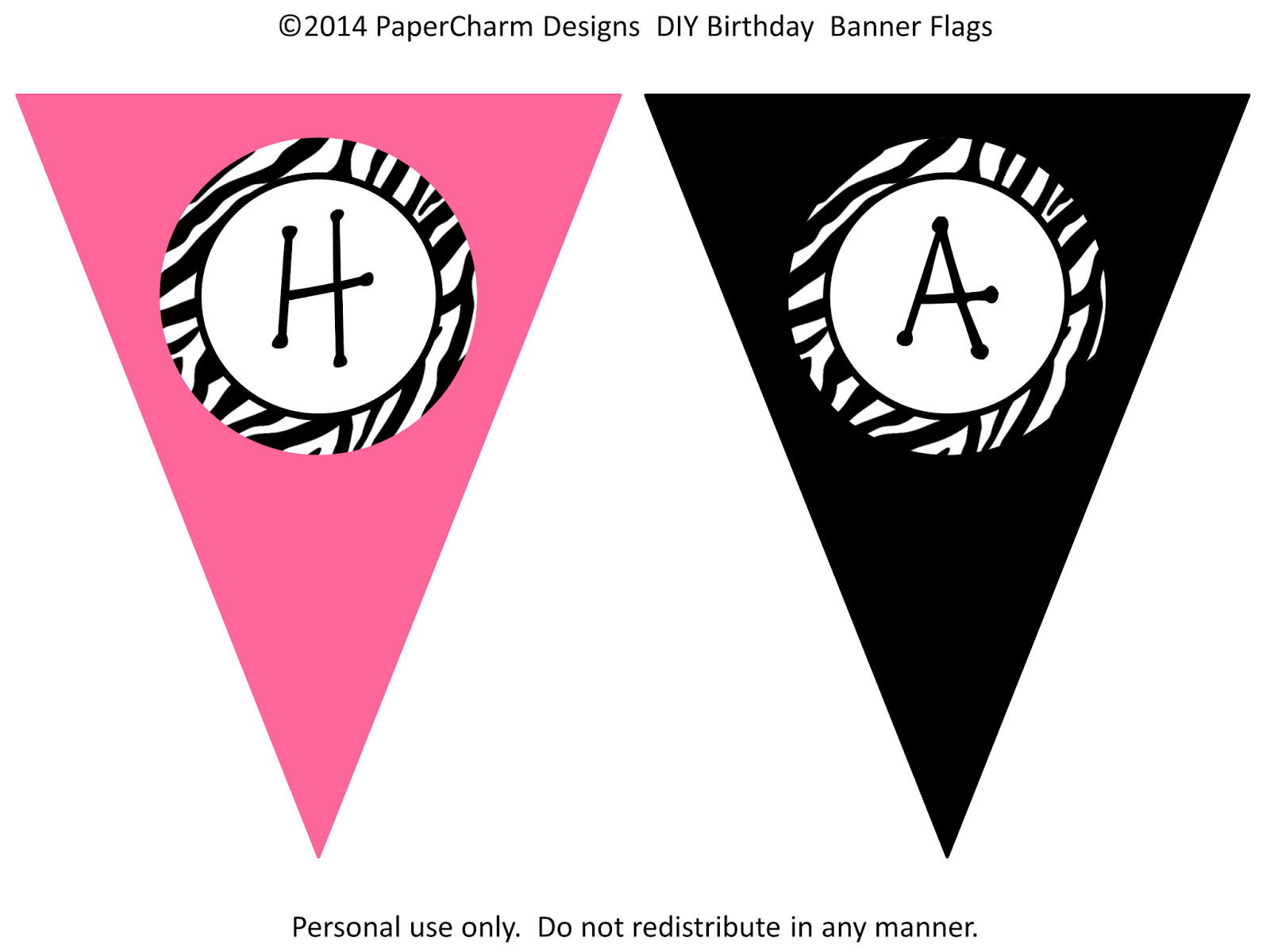 PaperCharm: Free Zebra Birthday Banners! | Cailyn's 5th Zebra ...