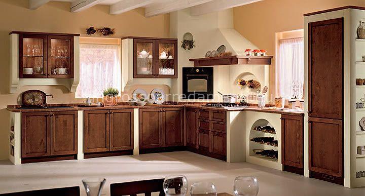 Cucina ad angolo marrone in arte povera kitchen - Cucine in arte povera ...