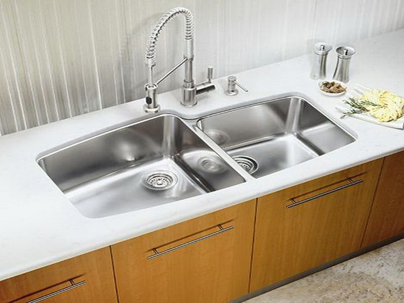 Blanco White Double Farmhouse Kitchen Sinks With Wooden Cabinet