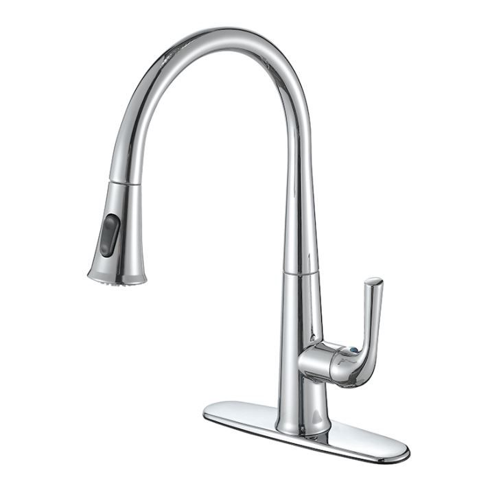 Single Handle Pull Down Swivel Spout Sprayer Kitchen Faucet In