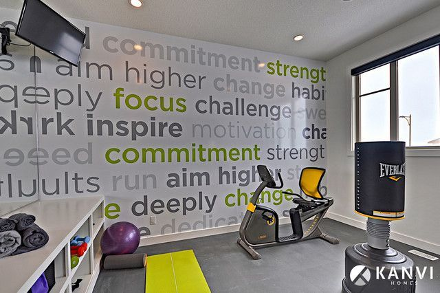 Gym wall art pfh fitness design in home gym design