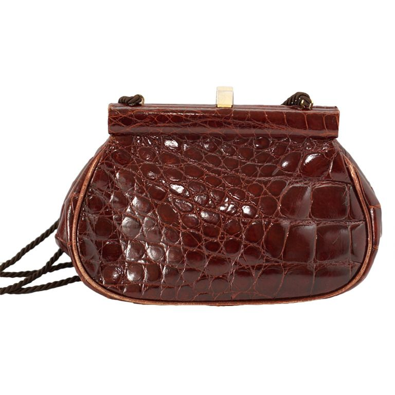 307b8a19e1 PRADA bag Vintage Crocodile Clutch shoulder cross body do peek ...