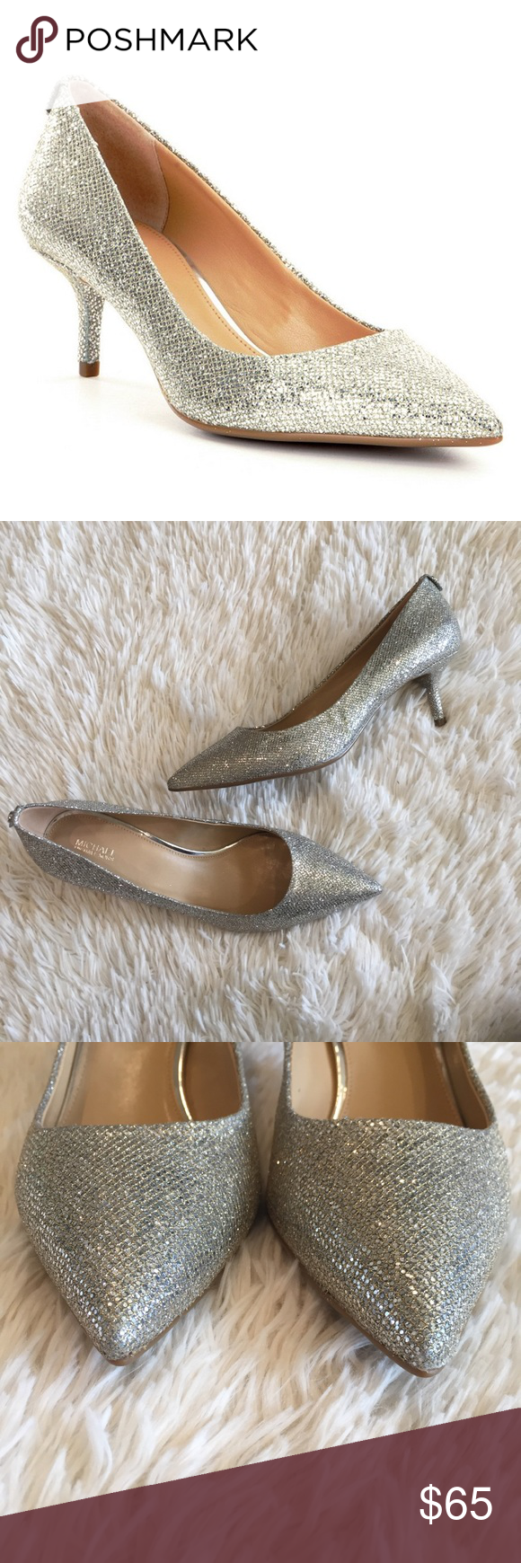 bdf8c7d6f16 Michael Kors Silver Glitter Flex Kitten Heels New without box ...