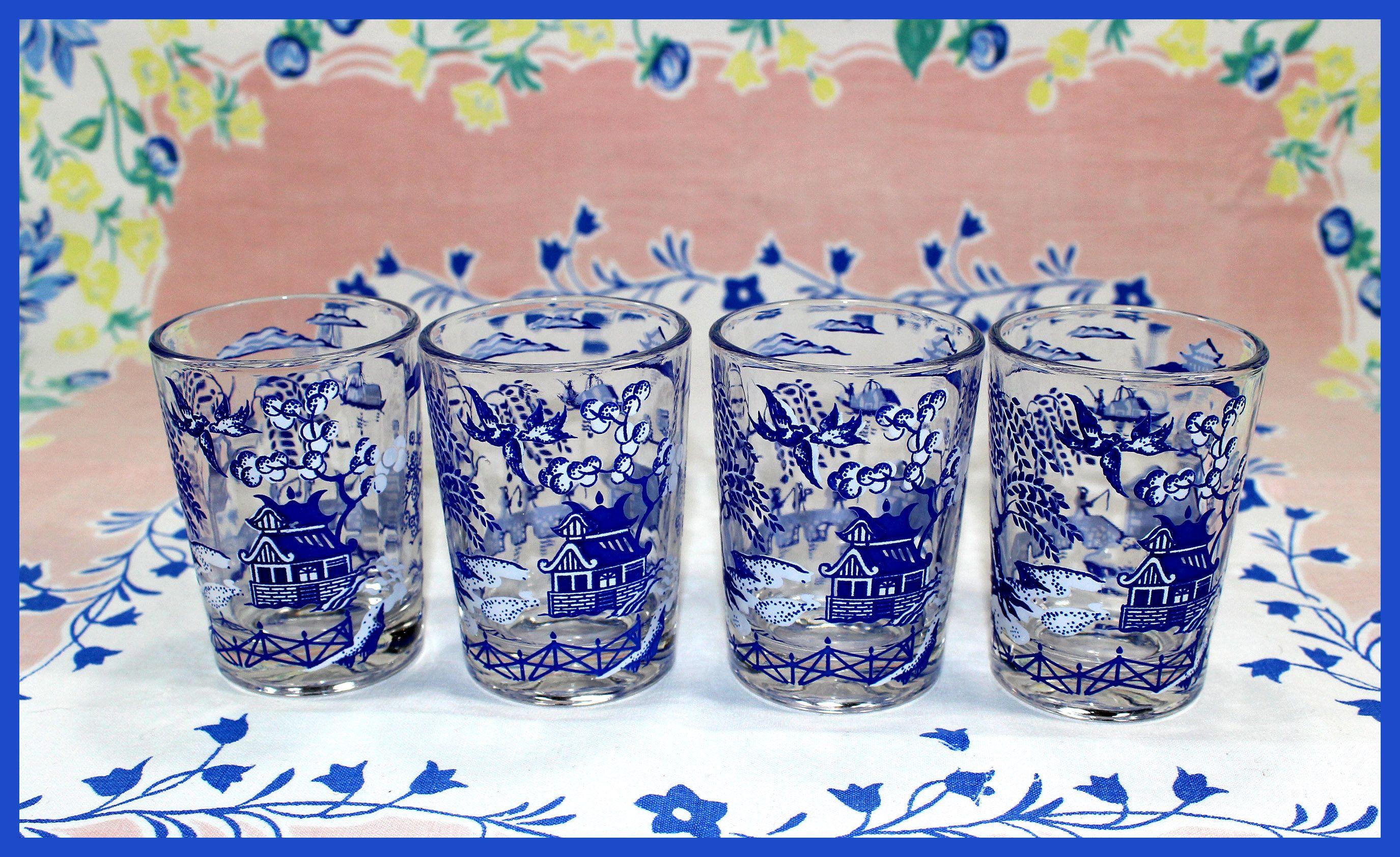 hazel atlas blue willow juice glasses set of 4 hard to find