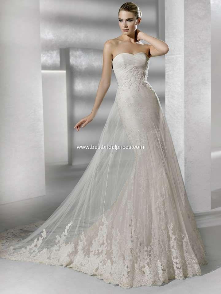 Wedding Dress with Sheer Overlay