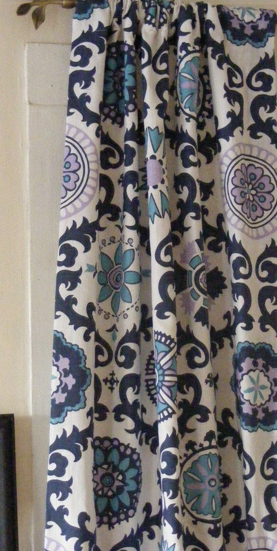 Blue Curtain Panels 25 X 84 Pair Lined Indigo Denim Cornflower Apache Dossett On Etsy 8500
