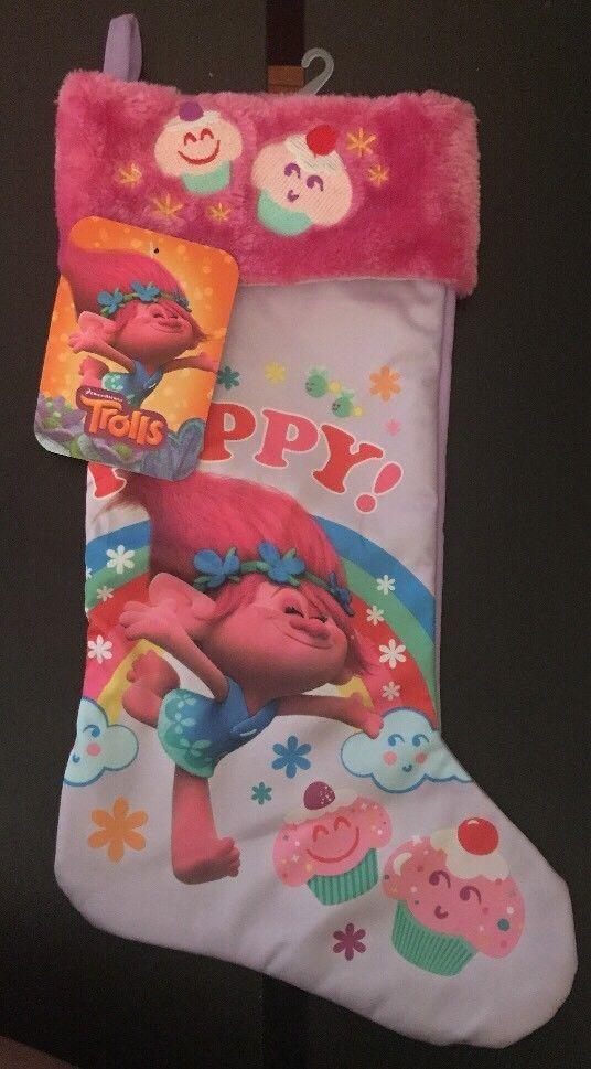 trolls poppy christmas holiday stocking 20 inches pink poppy
