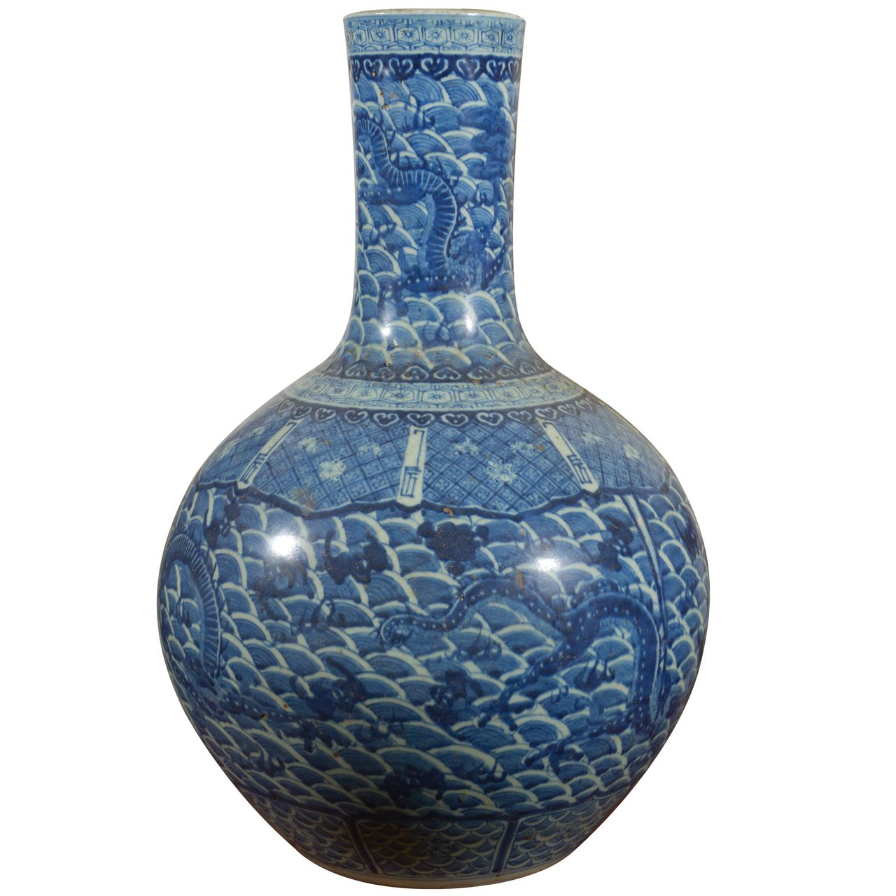Large Antique Blue and White Dragon Vase | From a unique collection of antique and modern vases at https://www.1stdibs.com/furniture/dining-entertaining/vases/ PLACE OF ORIGIN:	China DATE OF MANUFACTURE:	early 20th century PERIOD:	20th Century MATERIALS AND TECHNIQUES:	Glazed, Chinese ceramic, Paint.