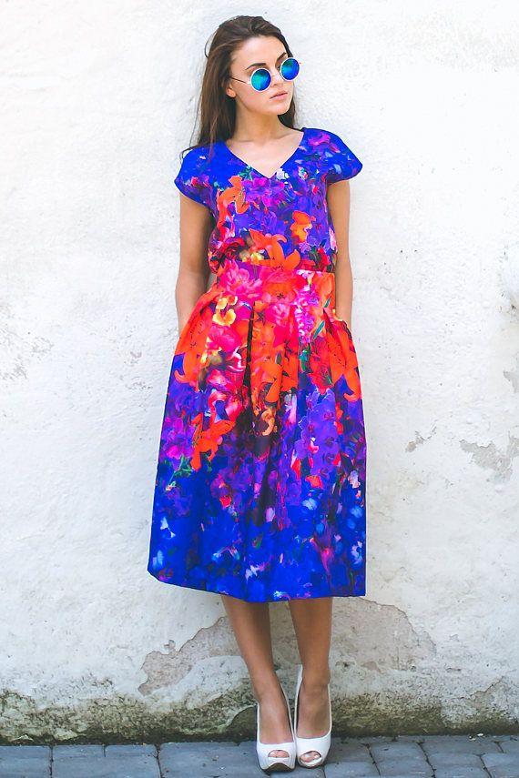 Floral Midi Skirt, Plus Size Clothing, Red And Blue Skirt, Colorful Skirt, Bohemian Clothing, Knee Length Skirt, Summer Skirt, Pleated Skirt
