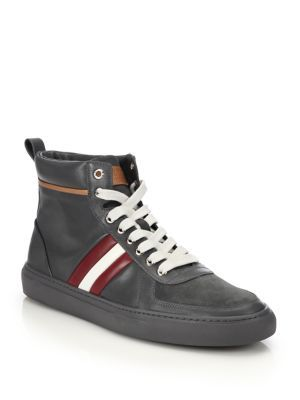 bc676fa4d3fcf7 BALLY Perforated Leather High-Top Sneakers.  bally  shoes  sneakers ...