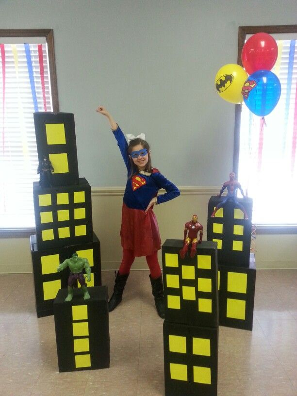 super hero party decorations spray paint boxes and cut. Black Bedroom Furniture Sets. Home Design Ideas