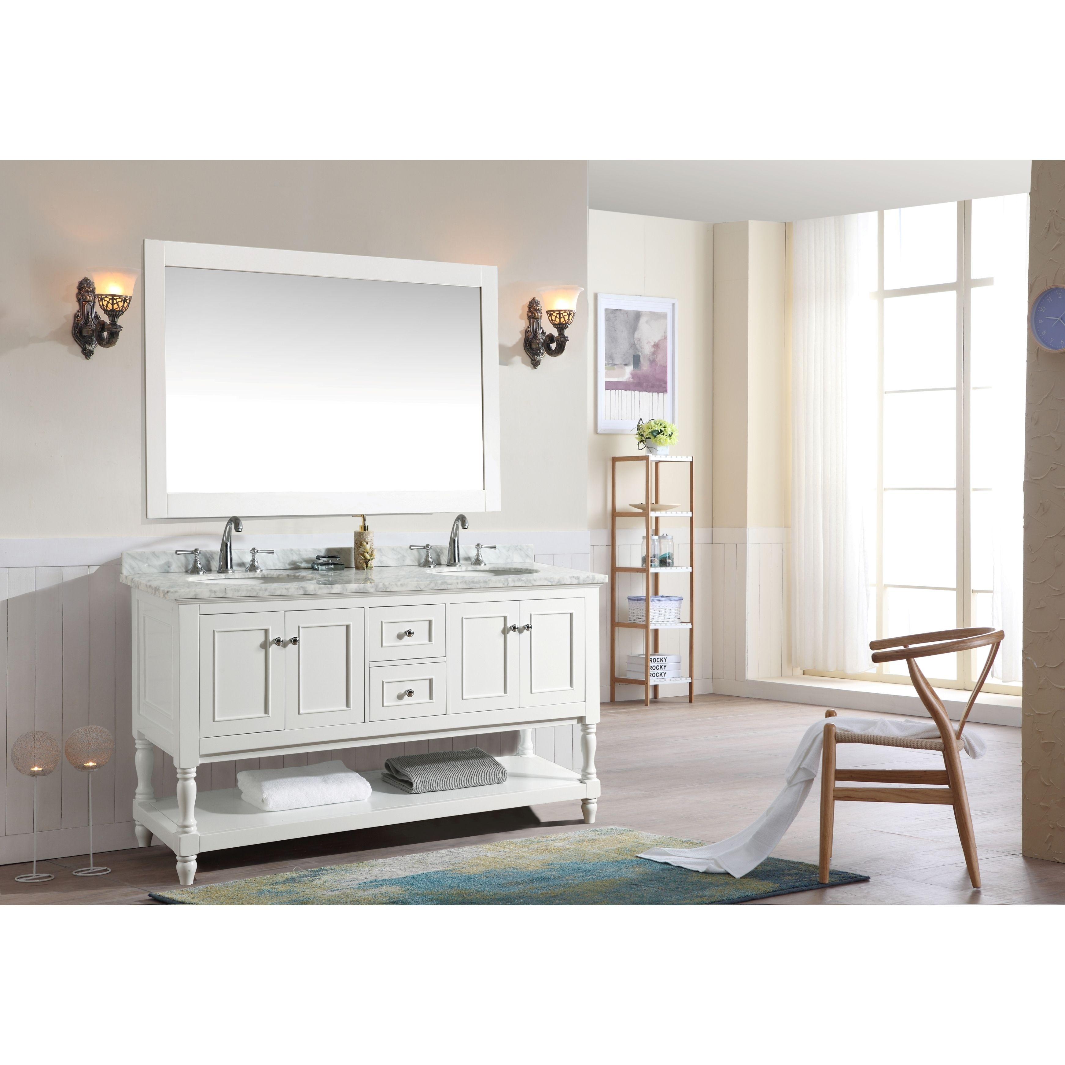 Double sink white bathroom vanities ari cape cod white  inch double bathroom vanity set with mirror