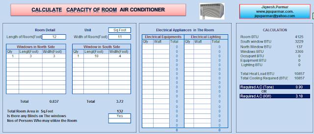 Room Air Conditioning Size Calculator Excel Sheet Decks Dicas