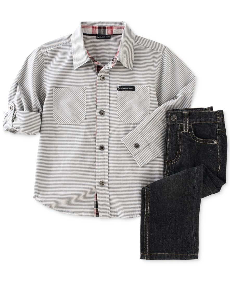 21ce930a2 Calvin Klein Baby Boys' 2-Piece Woven Gray Shirt & Pants Set | Baby ...