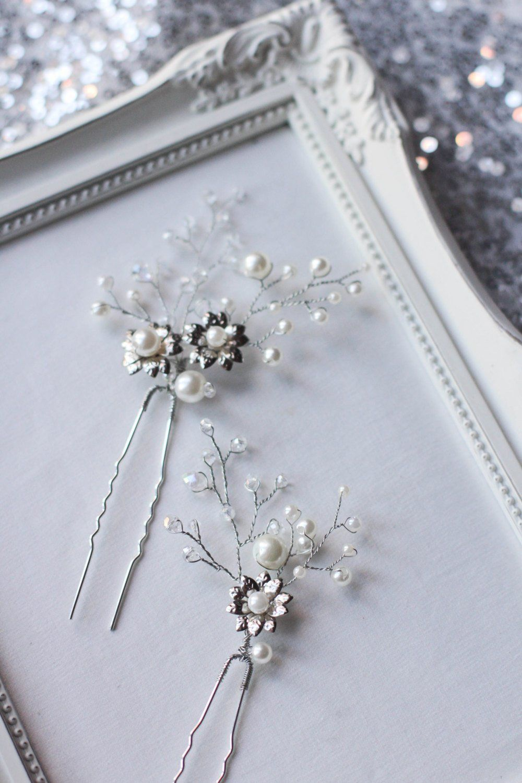 Wedding Floral Hair Pins PAIR