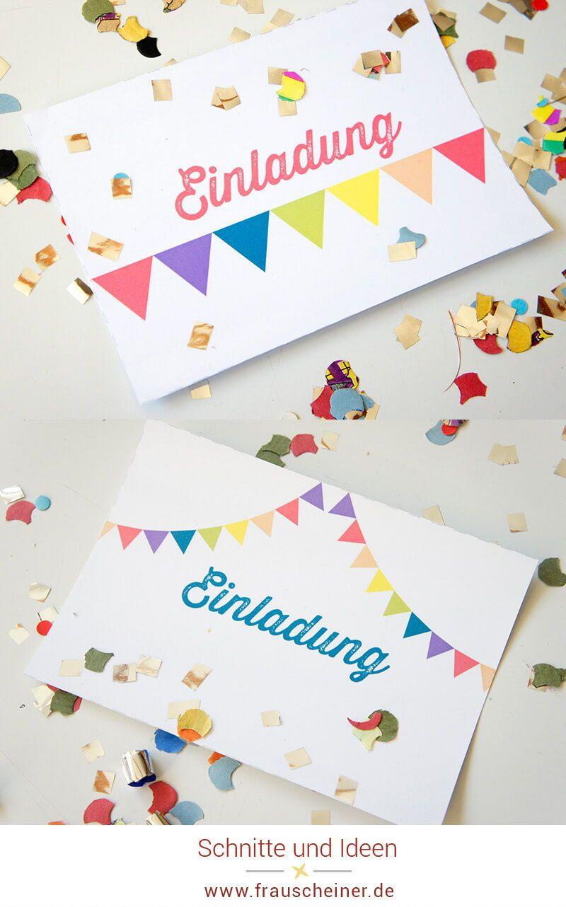 Photo of Einladungskarte mit Regenbogenwimpelkette – Frau Scheiner