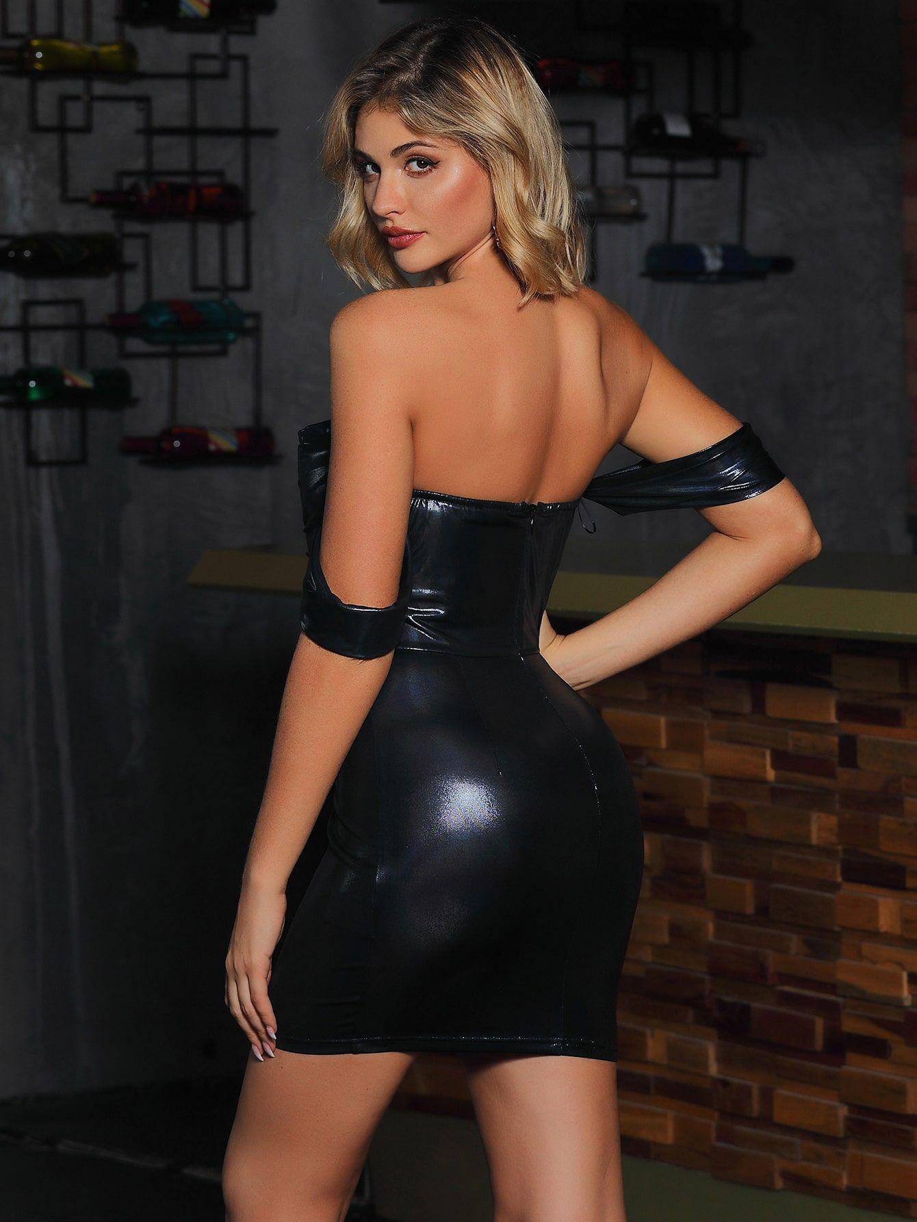 Double Crazy Zipper Back Off Shoulder Faux Patent Dress Sponsored Ad Zipper Crazy Double Dresses Casual Street Style Bodycon Dress [ 1785 x 1340 Pixel ]