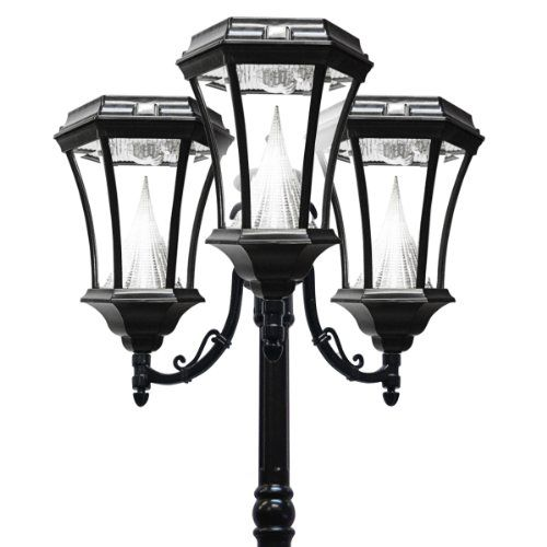Gama Sonic Victorian Solar Lamp Post and Triple Lamp LED Light Fixture, 90-Inch Height, Black Finish #GS-94T-B