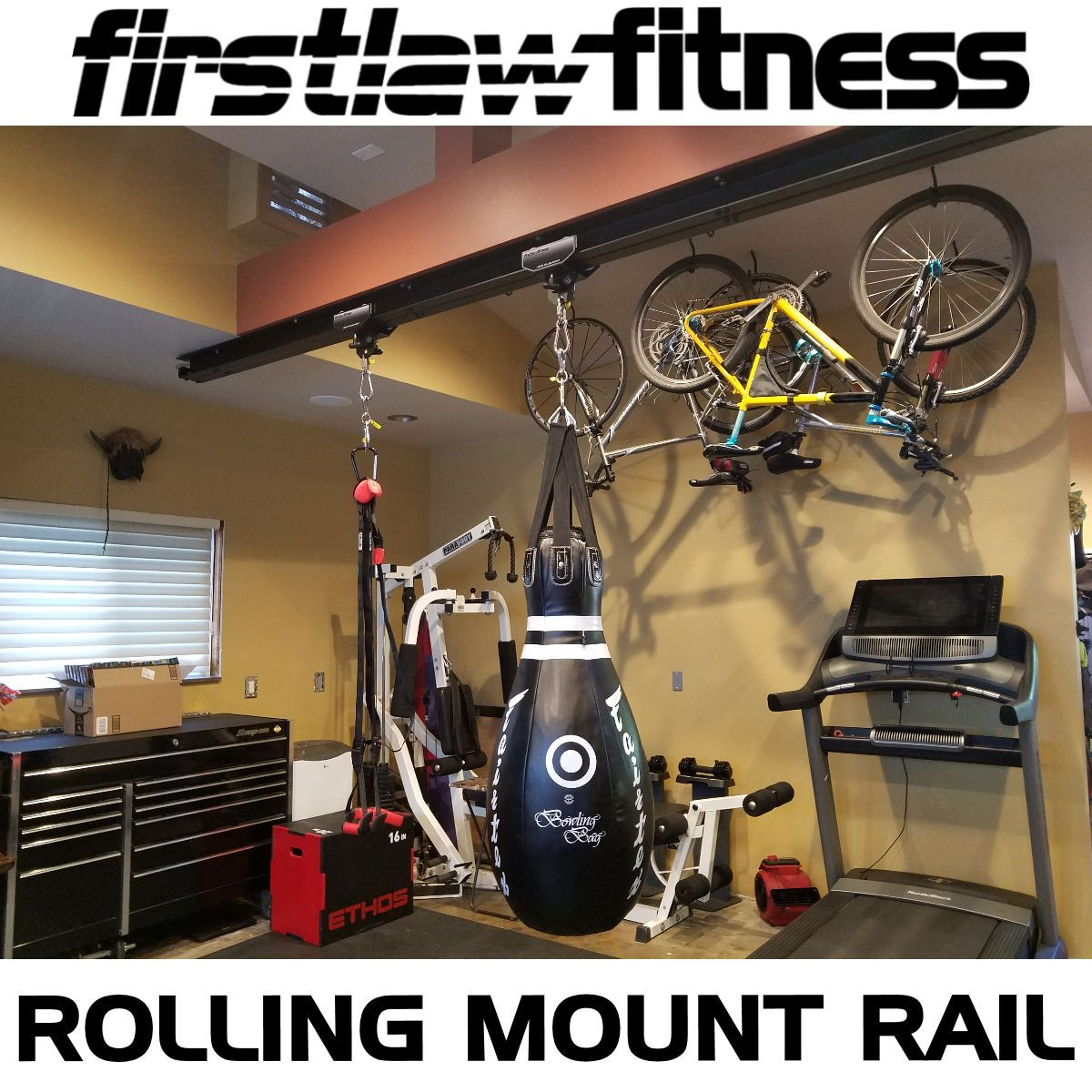 What A Great Pic Of Our I Beam Rail System With 2 Rolling Mounts If You Want To Hang A Heavy Bag In Your Home Or Comme Heavy Bag Mount Heavy Bags