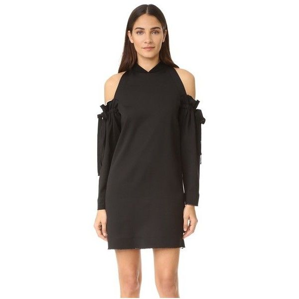 DKNY Cold Shoulder Dress with Raw Edges ($495) ❤ liked on Polyvore ...