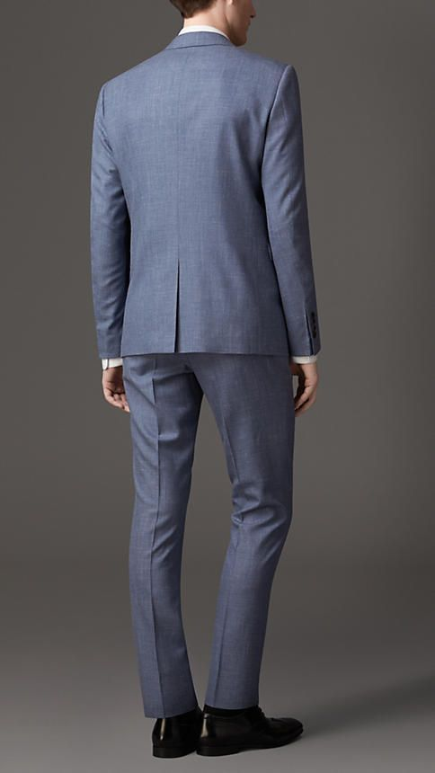 Burberry London Navy grey Slim Fit Silk Wool Suit - A slim fit ...
